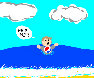 Boy drowning in water with a pepsi logo