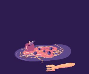 spaghetti with plum