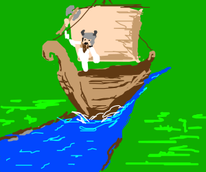 Viking sailing down a river