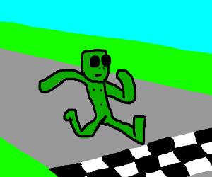 aliens running at finish