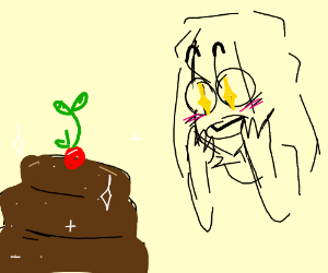 girl stares at chocolate cake with cherry