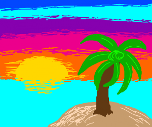 Boring palm tree on boring island