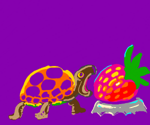 Turtle Tries to Eat a Strawberry.