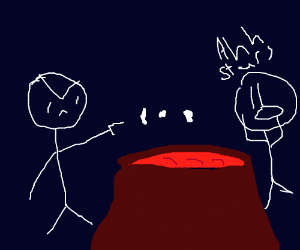 shooting stars over lava