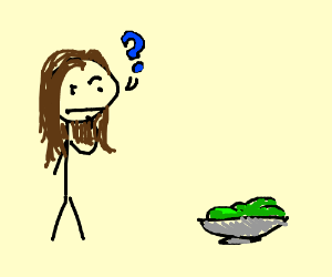 Girl confused by lettuce