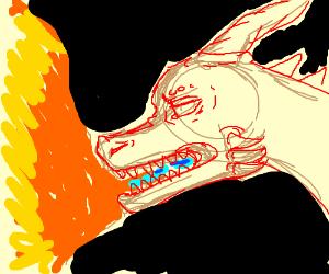 Orange Spyro the Dragon breathing fire
