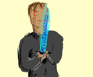 man holds blue light sword thing