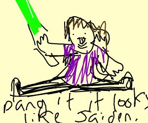 girl doing a split with a green light saber