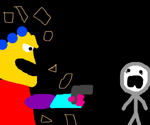 Shapes pointing gun at scared man