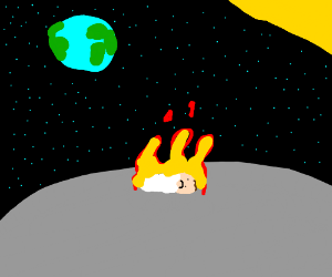 flaming baby on the moon