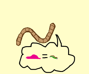 worm thinking gum is squished worm