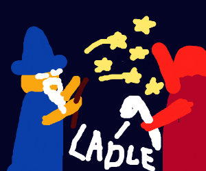 Wizard casts stars at sad red man with ladle