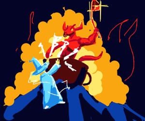 Wizard vs Demon with ladle