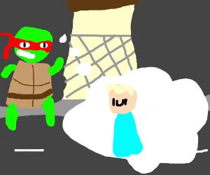 Raphael (TMNT) thinks Elsa (Frozen) is a god