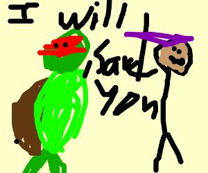 ninja turtle saving armless man