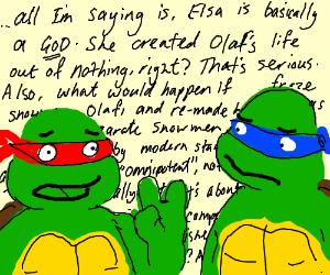 Ninja turtles discuss Frozen