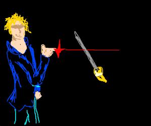 guy zapping a lazor through a blade