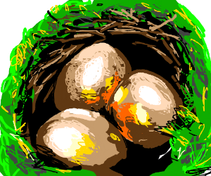 Copper-ish eggs in a nest full of grass