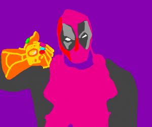deadpool with thanos gloves