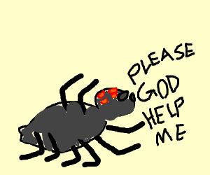 A spider cries for help
