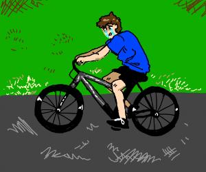 sad man on a bicycle