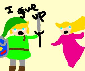 Link from legend of zelda gives up FINALLY