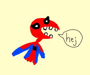 """Spider man saying ''hej"""""""