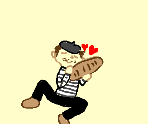 french guy love baguette