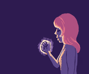 A women with a glowing fist
