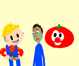 bob da builder+sad man+tomato from veggietales