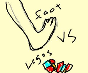 foot vs legos