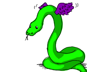 Purple and green winged snake