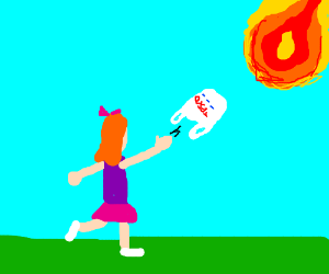 girl throws bag at the great ball of fire