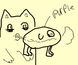 Cat gets high off purple dog slime