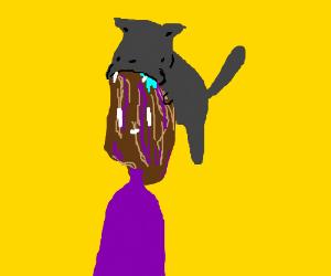cat sucks purple raisin man