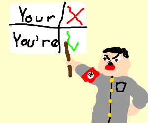 """Grammar Nazi corrects """"your"""" to """"you're""""."""