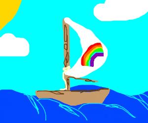 A Ship with a Rainbow Sail