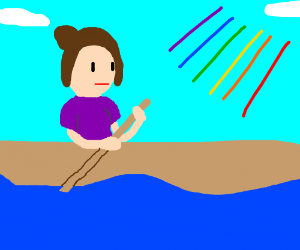 Woman in canoe and some colored lines