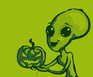 Happy Alien with Jack-o-Lantern