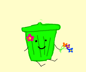 Green trash can with a smile