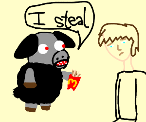 Sheep steals someone's McDonald's fires