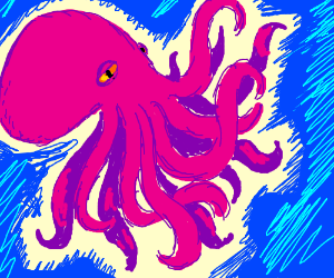 pink octopus with 14 arms