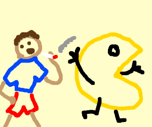 pacman chased in maze - Drawception
