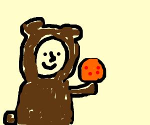 man in bear costume collecting dragon balls