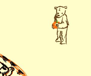 halloween costume of bear  holding pumpkin