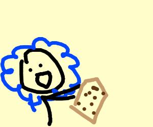 happy girl holding cookie sword