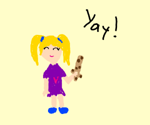Cute girl really enjoys her cookie-sword