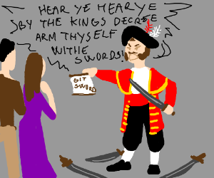 town crier with swords