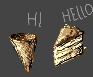 Cake and a Ice cream cone saying Hi