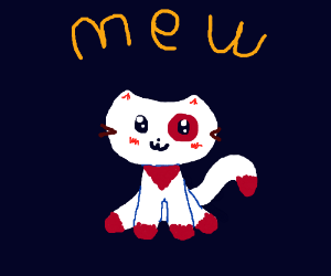 a red and white cat